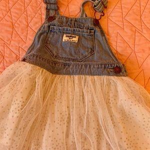 Osh Kosh kids white sparkle skirt overall set. 3T
